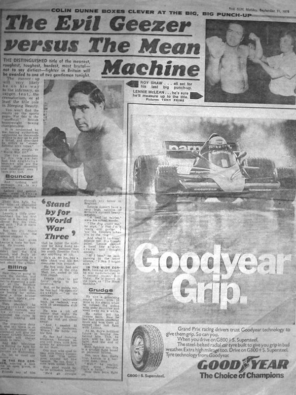 Roy Shaw v Lenny Mclean newspaper article